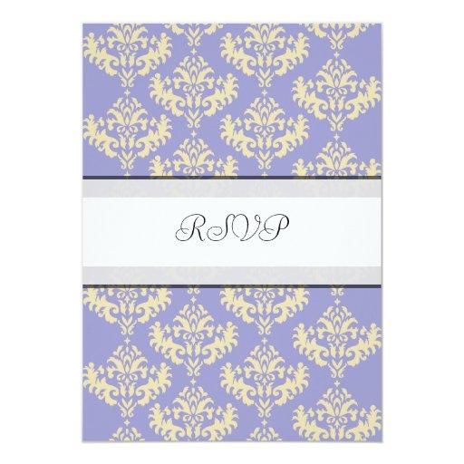"Purple & Gold Damask RSVP wedding reply cards 5"" X 7"" Invitation Card"