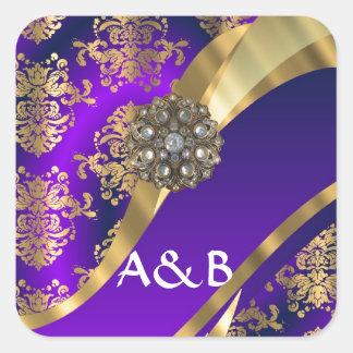 Purple & gold damask square sticker