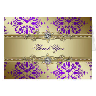 Purple Gold Damask Thank You Cards