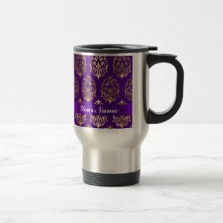 Purple & gold damask travel mug