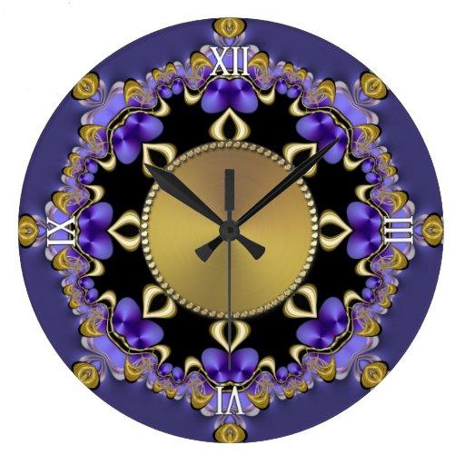 Purple Gold Decorative Lace Wall Clock