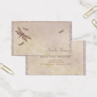 Purple & Gold Dragonflies Dragonfly Glam Sparkle Business Card