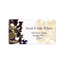 purple gold elegance return address label