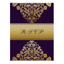 purple gold elegance RSVP cards