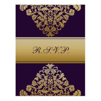 purple gold elegance RSVP cards