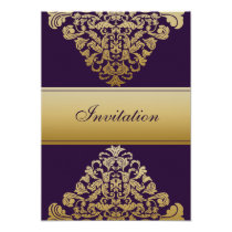 purple gold elegance wedding invitation