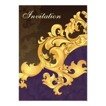 purple gold elegance wedding invitation