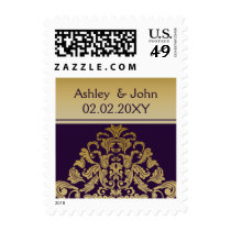 purple gold elegant wedding stamps