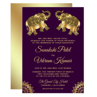 Purple Gold Ethnic Elephants Indian Wedding Invite