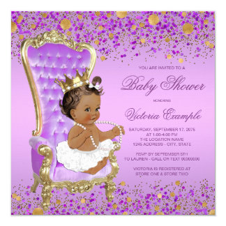 Purple Gold Ethnic Princess Baby Shower Card