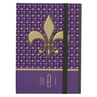 Purple Gold Faux Metal Fleur de Lis Cover For iPad Air