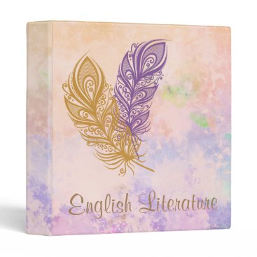 Beach Themed Purple & Gold Feathers Peach Watercolor Fantasy 3 Ring Binder
