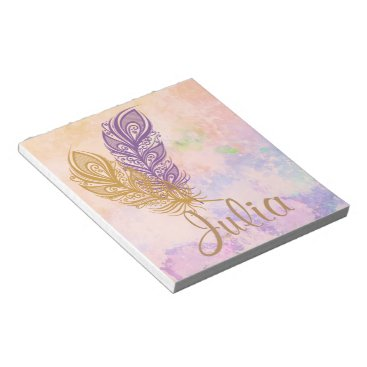 Beach Themed Purple & Gold Feathers Peach Watercolor Fantasy Notepad