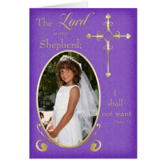 Purple Gold First Communion Photo Thank You Card Greeting Cards