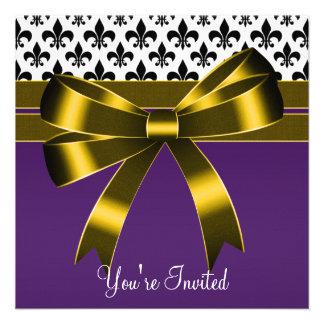 Purple & Gold Fleur De Lis Party Announcements