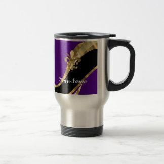 Purple & gold fleur de lys 15 oz stainless steel travel mug