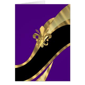 Purple & gold fleur de lys stationery note card
