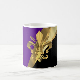 Purple & gold fleur de lys coffee mug