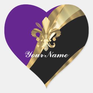 Purple & gold fleur de lys heart sticker