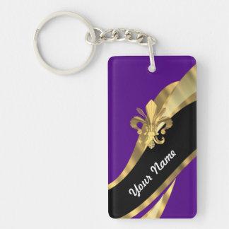 Purple & gold fleur de lys keychain