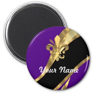 Purple & gold fleur de lys magnet