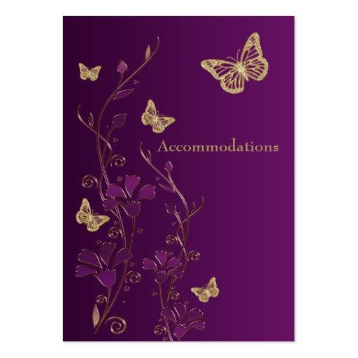 Purple gold floral butterflies enclosure card business