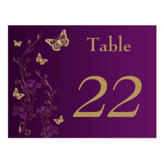 Purple, Gold Floral Butterflies Table Number Card Postcard