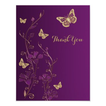 Purple, Gold Floral, Butterflies Thank You Note 4.25x5.5 Paper Invitation Card
