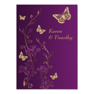 "Purple, Gold Floral, Butterflies Wedding Invite 4.5"" X 6.25"" Invitation Card"
