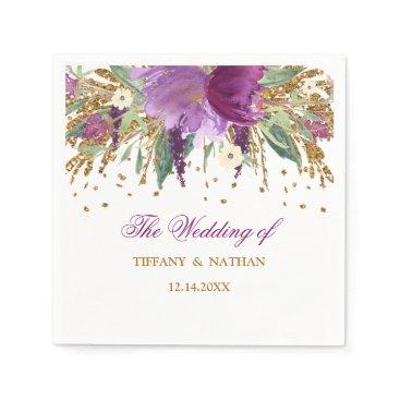 Wedding Themed Purple Gold Floral Glitter Amethyst Wedding Napkin