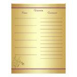 Purple Gold Floral Guest Book Paper Personalized Letterhead