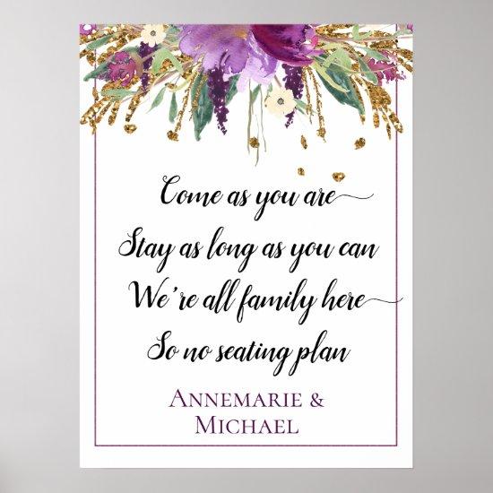 Purple Gold Floral No Seating Plan Wedding Sign