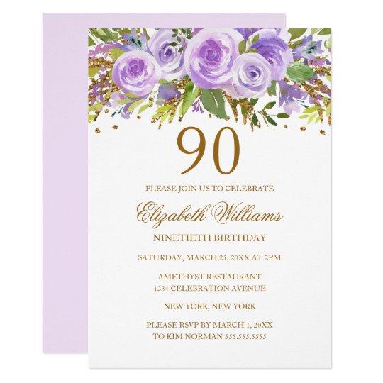 Purple Gold Floral Rose 90th Birthday Invitation