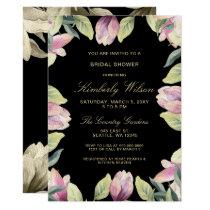 Purple Gold Floral Spring Wedding Bridal Shower Card