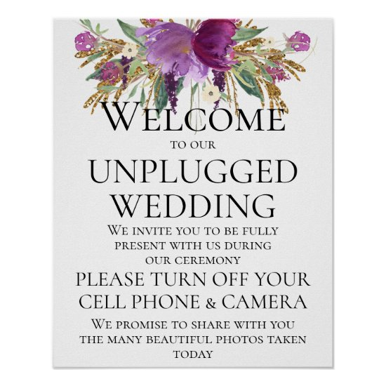 Purple Gold Floral Unplugged Wedding Ceremony Sign