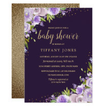 Purple Gold Floral Watercolor Baby Shower Invite