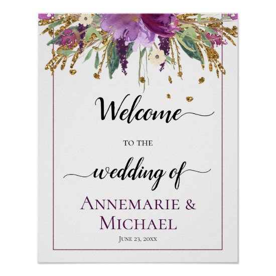 Purple Gold Floral Welcome To The Wedding Of Sign