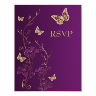 Purple, Gold Floral with Butterflies Reply Card