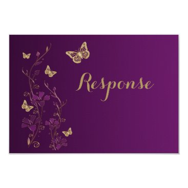 Purple Gold Floral with Butterflies RSVP Card 2
