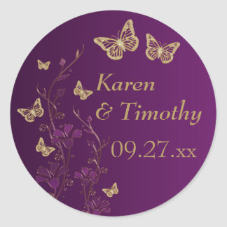 Purple, Gold Floral with Butterflies Sticker