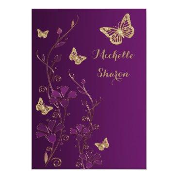 Purple Gold Floral with Buttterflies Bat Mitzvah 5x7 Paper Invitation Card