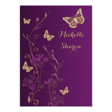 Purple Gold Floral with Buttterflies Bat Mitzvah 5x7 Paper Invitation Card