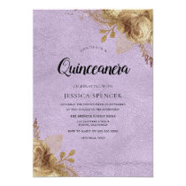 Purple & Gold Flowers Quinceanera Party Invite