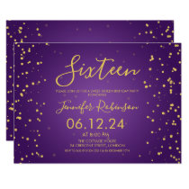 Purple Gold Foil Dots Sweet 16 Birthday Party Invitation