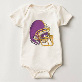 Purple Gold Football Helmet Baby Bodysuit
