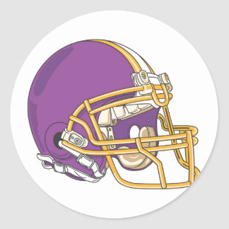 Purple Gold Football Helmet Classic Round Sticker