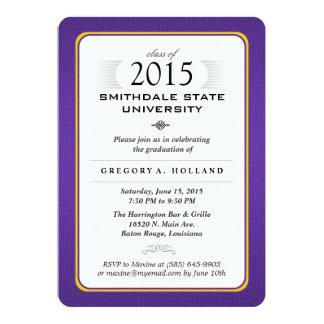 """Purple & Gold Formal Graduation Party Invite 5"""" X 7"""" Invitation Card"""