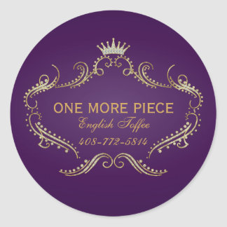 Purple & Gold Frame & Crown Glitter Texture Classic Round Sticker