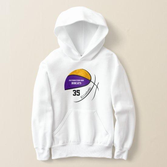 purple gold girls' basketball team colors hoodie