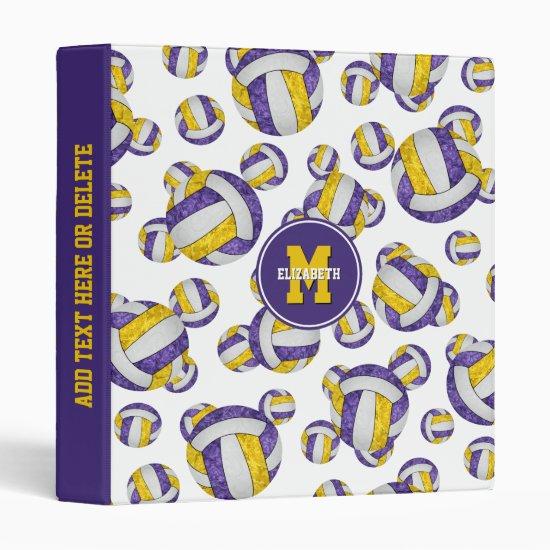 purple gold girls school colors volleyball pattern 3 ring binder
